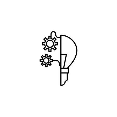 light bulb gears idea icon line style