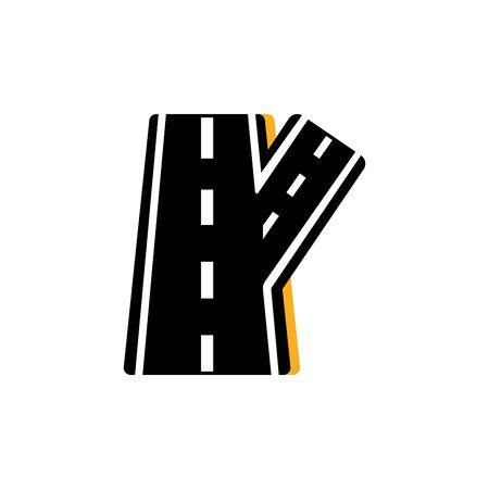 detour asphalt road flat image Vettoriali