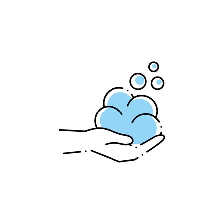 hand with foam spa fill style icon  イラスト・ベクター素材