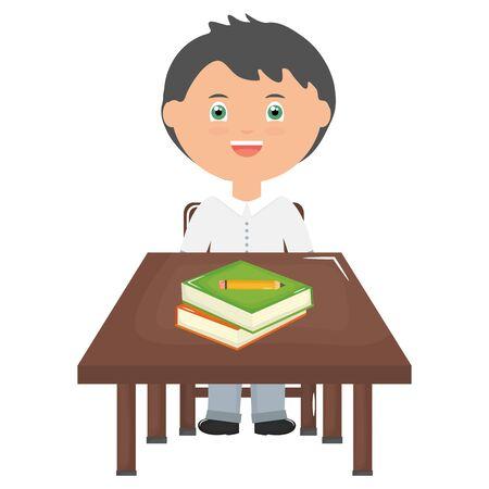cute little student boy with books in schooldesk
