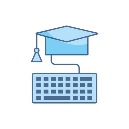 graduation hat keyboard connection school education learning line and fill