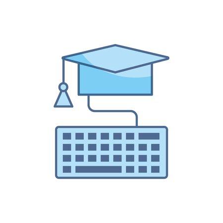 sombrero de graduación conexión de teclado educación escolar línea de aprendizaje y relleno