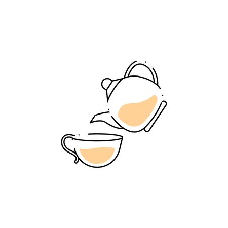 teapot with cup spa fill style icon
