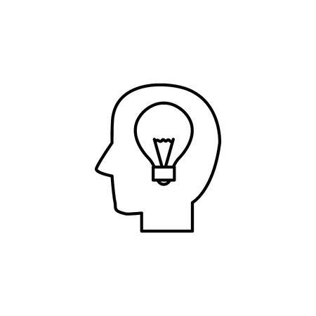 head brain bulb idea icon line style