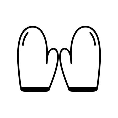 Isolated kitchen gloves line design