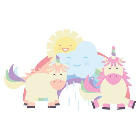 cute unicorns in rainbow with clouds and sun  characters Ilustracja