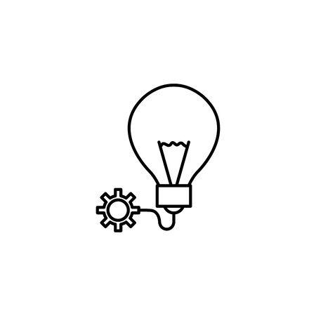 light bulb gear idea icon line style