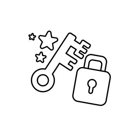 vintage key padlock imagination mystery magic line style icon illustration 일러스트