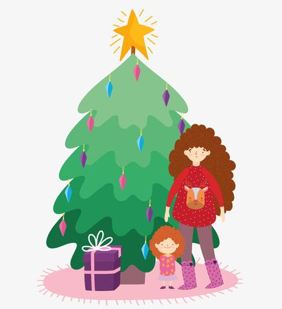 woman with sweater and little girl tree gift merry christmas, happy new year Stock fotó - 133981180
