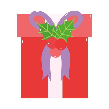 merry christmas red gift box mistletoe decoration icon 向量圖像