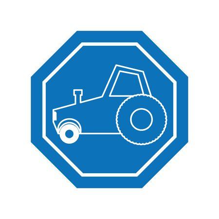 truck car inside road sign icon block line design