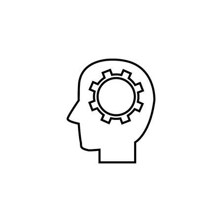 head brain gear solution idea icon line style
