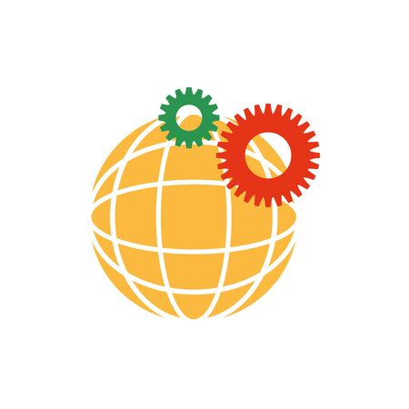 Digital global sphere and gears icon flat design 일러스트