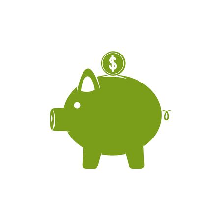 Isolated piggy icon green silhouette design Stock fotó - 133981361