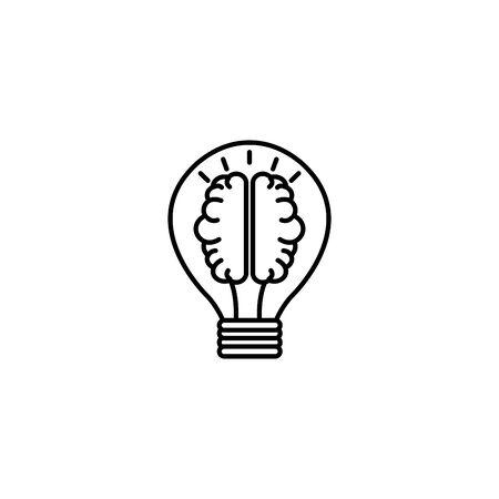 brain in bulb idea icon line style