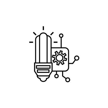 bulb board circuit gears idea icon line style illustration Illustration