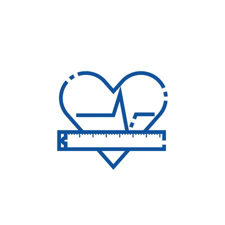 Isolated gym heart pulse line design Illustration