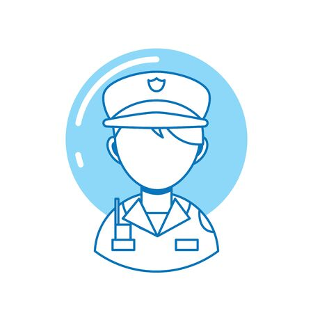 policeman professional , person line fill Illustration