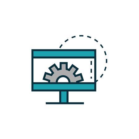 computer setting gear work tools engineering icon 일러스트