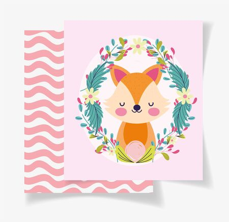 cute fox wreath flowers baby shower card