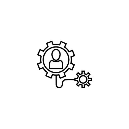 people gears connected idea icon line style illustration 일러스트