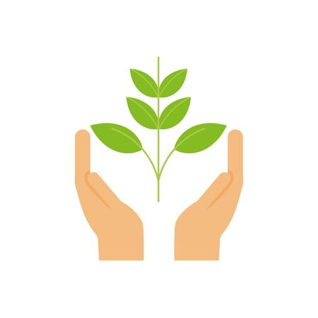 ecology renewable environment hands with plant icon vector illustration