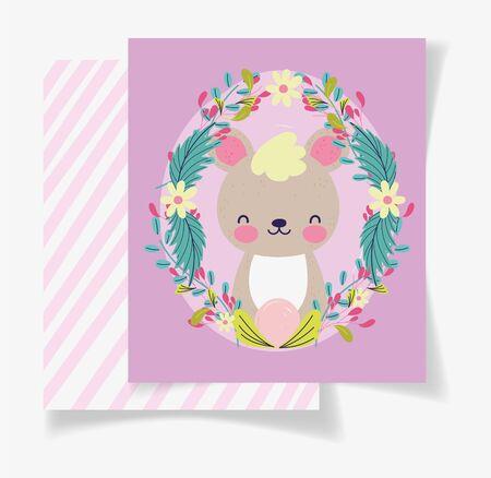 cute bear wreath flowers baby shower card
