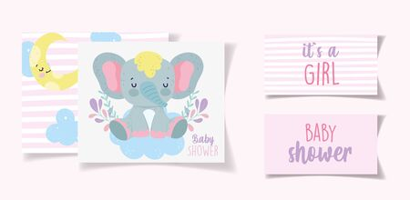 cute elephant decoration its a girl baby shower card