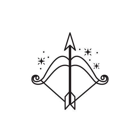 archery bow arrow fantasy line design vector illustration