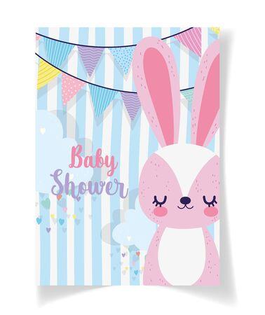 cute rabbit garland clouds hearts baby shower card
