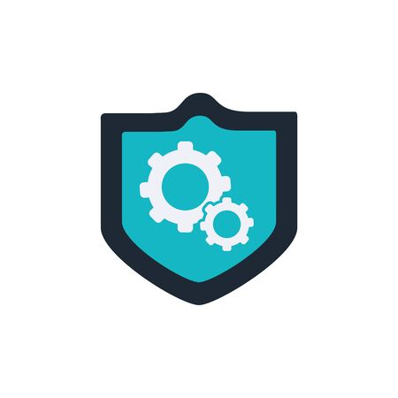 security shield with gears flat style icon 일러스트
