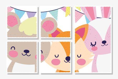 cute fox rabbit bear pennants baby shower card