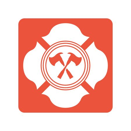 fire emblem with axes crossed block line style icon vector illustration design