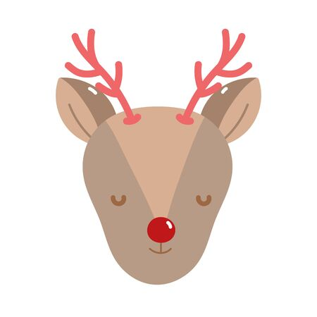 merry christmas reindeer head decoration icon