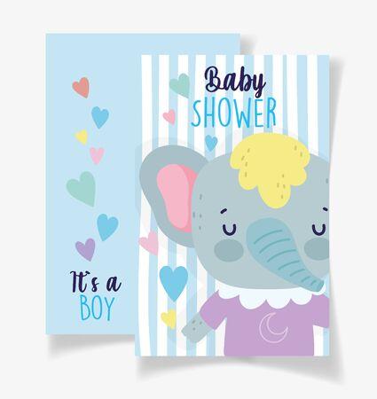 cute elephant its a boy baby shower card vector illustration Stock Illustratie
