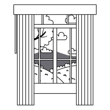 Home window and landscape design vector illustration Illusztráció
