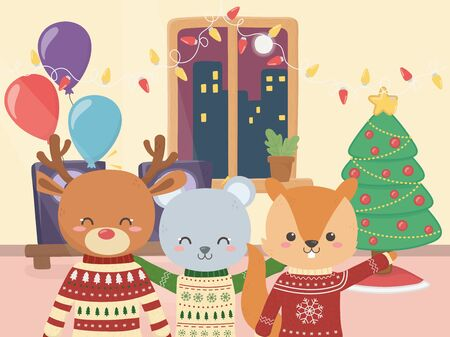 merry christmas celebration cute bear deer and squirrel with tree balloons confetti vector illustration