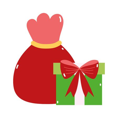 merry christmas red bag and gift decoration icon