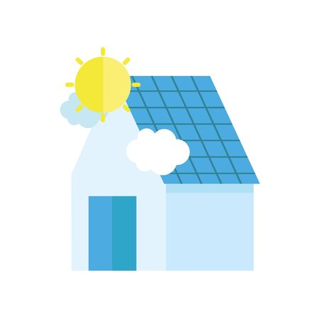 ecology renewable environment solar panel house icon vector illustration 일러스트