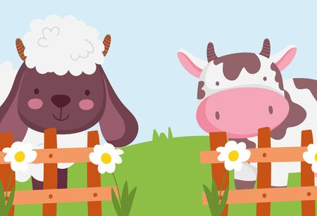 cow and sheep the wooden fence flowers farm animals vector illustration