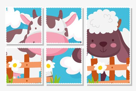 cow and sheep the wooden fence flowers farm animals cards vector illustration Ilustração