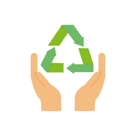 ecology renewable environment hands recycle icon