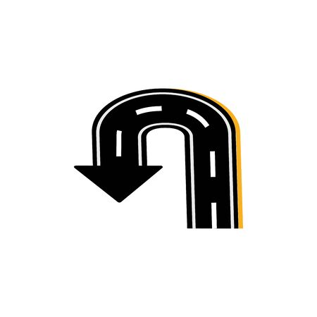 u turn asphalt road flat image vector illustration