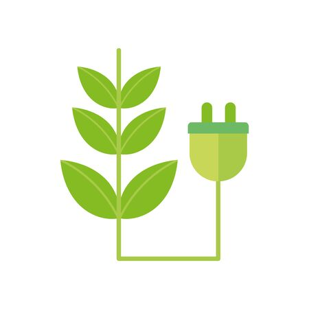 ecology renewable environment plant pulg icon vector illustration 일러스트