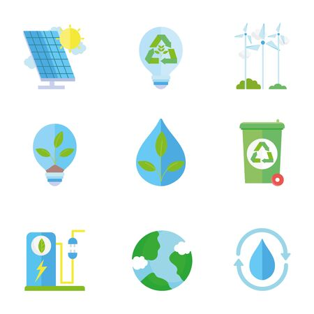 ecology renewable environment recycle icons collection vector illustration 일러스트