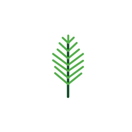 pine branch foliage nature leaf icon flat