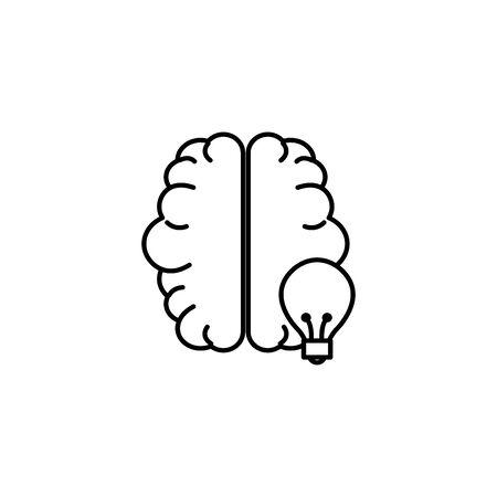 human brain bulb idea icon line style