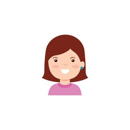 Isolated girl cartoon icon flat design 向量圖像