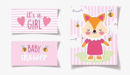 cute female fox with dress bees decoration its a girl baby shower card vector illustration