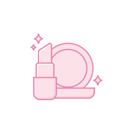 Powder and lipstick icon design, Make up beauty cosmetic fashion style glamour skin and facial care theme Vector illustration Vecteurs
